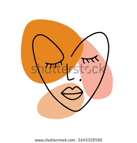 Continuous line illustration with abstract heart shaped face. Minimalist woman portrait for st Valentines Day. Vector trendy illustration