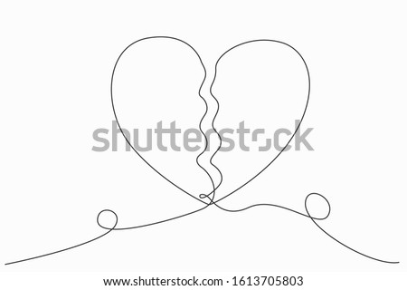 Continuous line or one line art of Broken heart. Sadness. Feeling sorry for broken love. Vector illustration.
