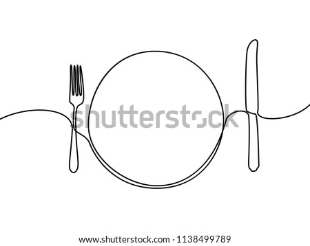 Continuous line plate, khife and fork. Vector illustration.