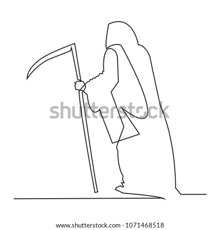 Stock Photo continuous line Silhouette of the grim Reaper. Vector illustration.