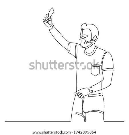 Continuous line soccer referee showing card. referee on football match showing foul. vector illustration with sport character.