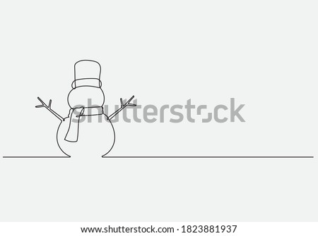 Continuous line vector illustration drawing of Snowman, Concept of Christmas. Holiday, New year