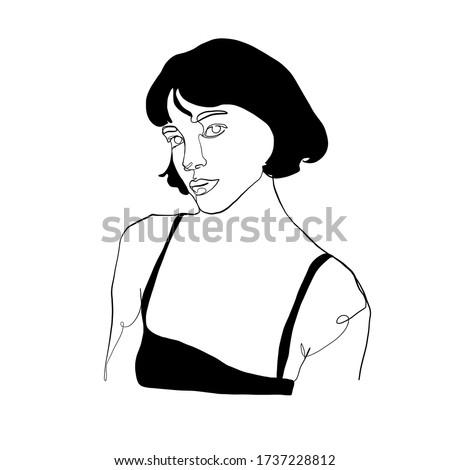continuous line woman portrait