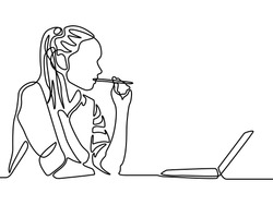 Continuous line woman thinking and bitting a pen. Woman education.