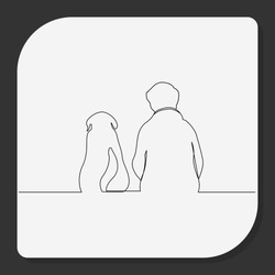 Continuous line, Young man sitting on the hill with his dog. Drawing of set Pet. (Vector illustration one line drawing)