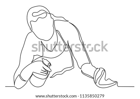 Continuous Line Young Woman With A Puffer And Rag In Her Hands The Concept
