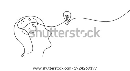 Continuous one drawn line of a man thinking with light bulb in front of his head. Allegory of solution and creative search. Minimalism concept of idea and creativity.