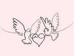 Continuous one line different width drawing. Flying two pigeons with heart Valentine Day logo. Black and white vector illustration. Concept for logo, card, banner, poster, flyer