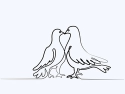Continuous one line different width drawing. Two pigeons Valentine Day logo. Black and white vector illustration. Concept for logo, card, banner, poster, flyer