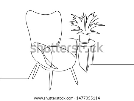 Continuous one line drawing armchair. Stylish office interior, chair and home plant vector hand drawn silhouette clipart. Sketch of scandinavian furniture design isolated on white backg