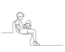 Continuous one line drawing. Boy studying with reading book. Back to school concept. Vector illustration