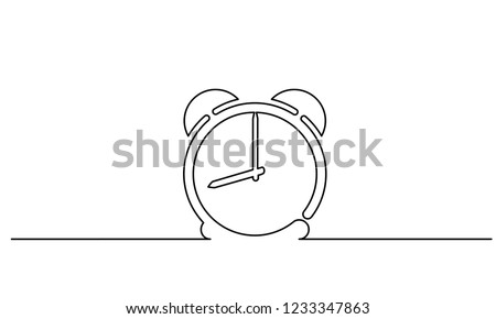 Continuous one line drawing. Clock with arrows icon on white background. Vector illustration for banner, web, design element, template, postcard.