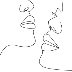 Continuous One Line Drawing. Couples Portrait. One line Abstract Portrait. Minimalist Portrait Design. Contour Face Abstract Wall Art Poster. Vector EPS 10.