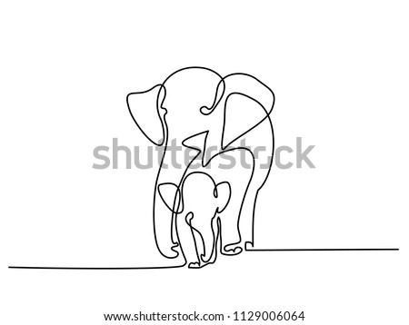 Continuous one line drawing. Elephant with baby symbol. Logo of the elephant. Vector illustration