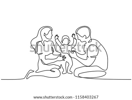 Continuous one line drawing. Family concept. Father, mother and kid sitting together. Vector illustration