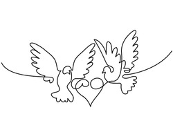 Continuous one line drawing. Flying two pigeons with heart Valentine Day logo. Black and white vector illustration. Concept for logo, card, banner, poster, flyer