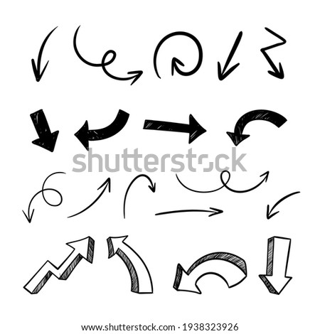 Continuous one line drawing. Hand drawn arrows set on a white background. Linear style