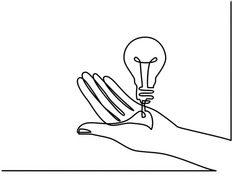 Continuous one line drawing. Hands palms together with light bulb. Black and white background vector illustration.