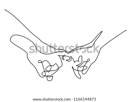 Continuous one line drawing. Hands woman and man holding together with little fingers. Vector illustration. Concept for logo, card, banner, poster flyer