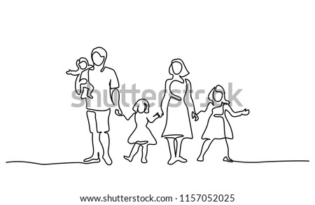 Continuous one line drawing. Happy family father and mother with three children. Vector illustration.