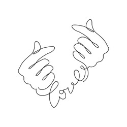 Continuous one line drawing Korean heart, depicted by fingers, is a widely used gesture in Korean society, expressed friendliness, empathy and love.