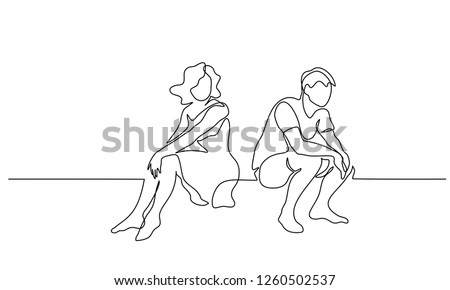 Continuous one line drawing. Loving upset couple woman and man sitting. Vector illustration