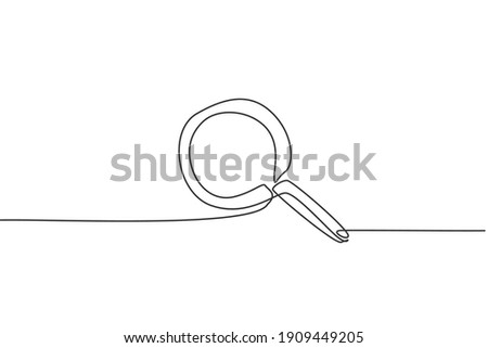 Continuous one line drawing magnifier zoom. Back to school hand drawn minimalism concept. Search discovery icon on internet website. Single line draw design for education vector graphic illustration Сток-фото ©