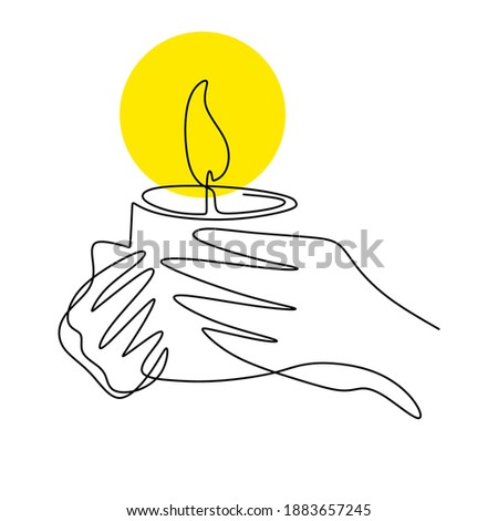 Continuous one line drawing of a hand holding burning candle. Human hands holding a memory candle. Melting wax candle in left hand. Vector minimalism design isolated on white background