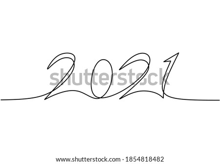 Continuous one line drawing of a '2021' new year text. Chinese New year of the bull handwritten 2021 lettering. Celebration New Year concept isolated on white background. Vector sketch illustration Foto stock ©
