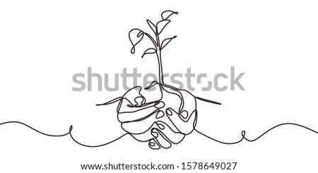 Continuous one line drawing of back to nature theme with hands holding a plant. Concept of growing and love earth. Сток-фото ©