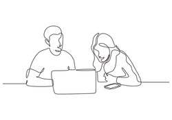 Continuous one line drawing of business concept. Man and woman sitting with laptop. Creative work of discussion, client meeting, creative thinking and strategy.