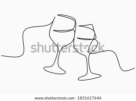Continuous one line drawing of cheers two glasses for party celebration. Festive toast concept isolated on white background. Minimalist line art of cheering glasses of wine. Vector illustration