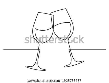 Continuous one line drawing of cheers two wine glasses. Vector illustration ストックフォト ©