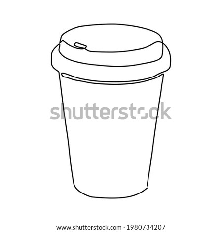 Continuous one line drawing of coffee. Contemporary vector illustration on white background.  Сток-фото ©