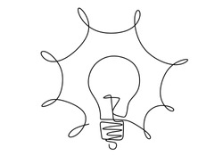 Continuous one line drawing of electric light bulb. Lightning in the lamp symbol of energy. Symbol idea and creativity isolated on white background minimalism design. Vector illustration.