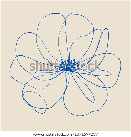 Continuous one line drawing of flower. jasmine flower, apple flower, japanese flower of sakura.