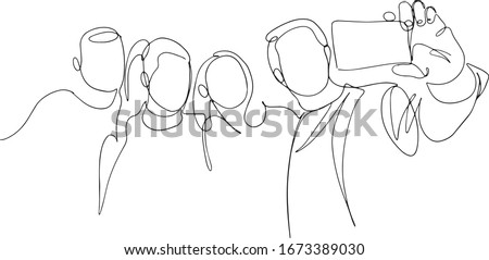 Continuous one line drawing of group people selfie. Man and women taking a picture with smartphone to capture moment vector minimalism simplicity design. Group photo one line vector drawing. Сток-фото ©