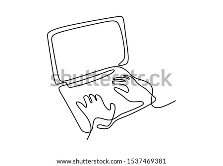 Continuous one line drawing of hand typing on laptop minimalism design vector. Simplicity single hand drawn sketch lineart.