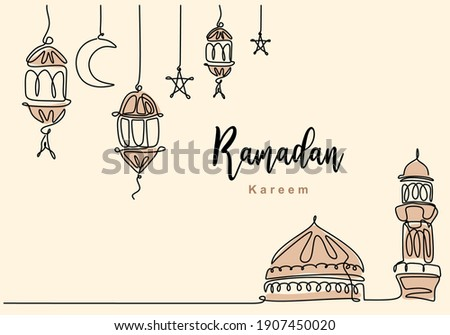 Continuous one line drawing of Islamic mosque with hanging traditional lantern, star and half moon. Ramadan Kareem greeting card, banner and poster design in white background. Vector illustration