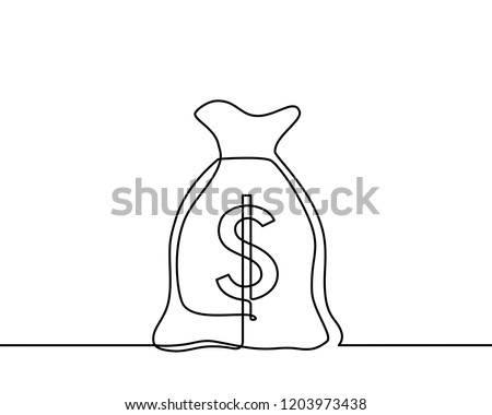 Continuous one line drawing of isolated vector object, dollar sign