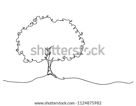 continuous one line drawing of nature tree vector illustration