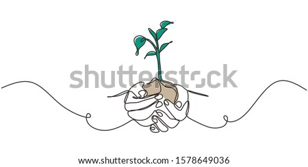 Continuous one line drawing of plant in hand. Hands holding nature sign and symbol vector illustration. Minimalism design and simplicity sketch hand drawn.