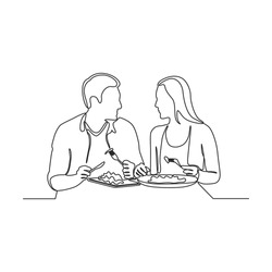 Continuous one line drawing of romantic couple dinner with table  food  and wine.vector
