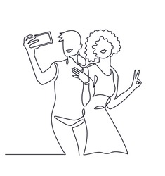 Continuous One Line Drawing of Selfie lgbt lover couple. Same love vector illustration. Happy lgbt girl holding smartphone, making selfie photo with smile and happiness.