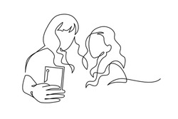 Continuous One Line Drawing of Selfie lgbt lover couple. Two friends holding smartphone, making selfie photo with smile and happiness vector illustration. Outline, thin line art, hand drawn sketch