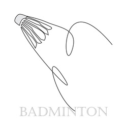 Continuous one Line drawing of Shuttlecock icon with Abstract Swoosh. You can use for Sport logo and Badminton Championship Logo. Vector badminton ball with feather. Athletic lifestyle, sport design.