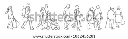 Continuous one line drawing of urban residents walking on city street. Group of different people walking city background. Casual townspeople crosses the road in one way hand drawn vector illustration