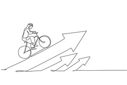Continuous one line drawing of young Arab businessman ride bicycle to climb arrow up sign. Business financial increase minimalist concept. Trendy single line draw design vector graphic illustration