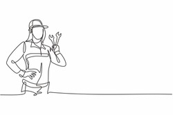 Continuous one line drawing of young beautiful attractive female mechanic with hands on hip. Professional job profession minimalist concept. Single line draw design vector graphic illustration