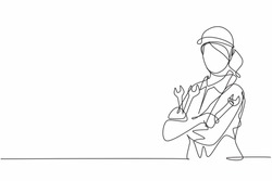 Continuous one line drawing of young female mechanic pose cross arms while holding set of wrench. Professional job profession minimalist concept. Single line draw design vector graphic illustration